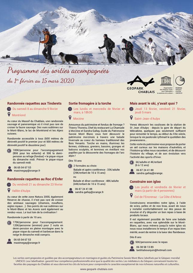 Programme des sorties hivernales 2020 du Géoparc du Chablais