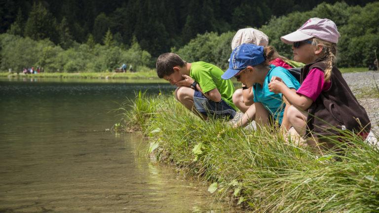 Jeunes écoliers au bord du Lac des Plagnes
