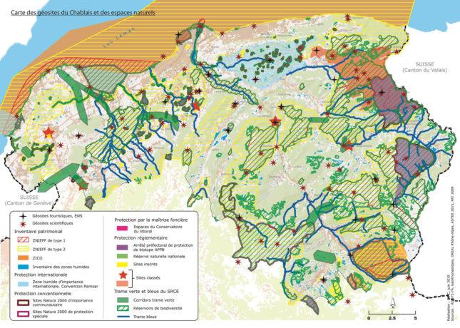 Carte des géosites du chablais et des zone de protection de l'environnement
