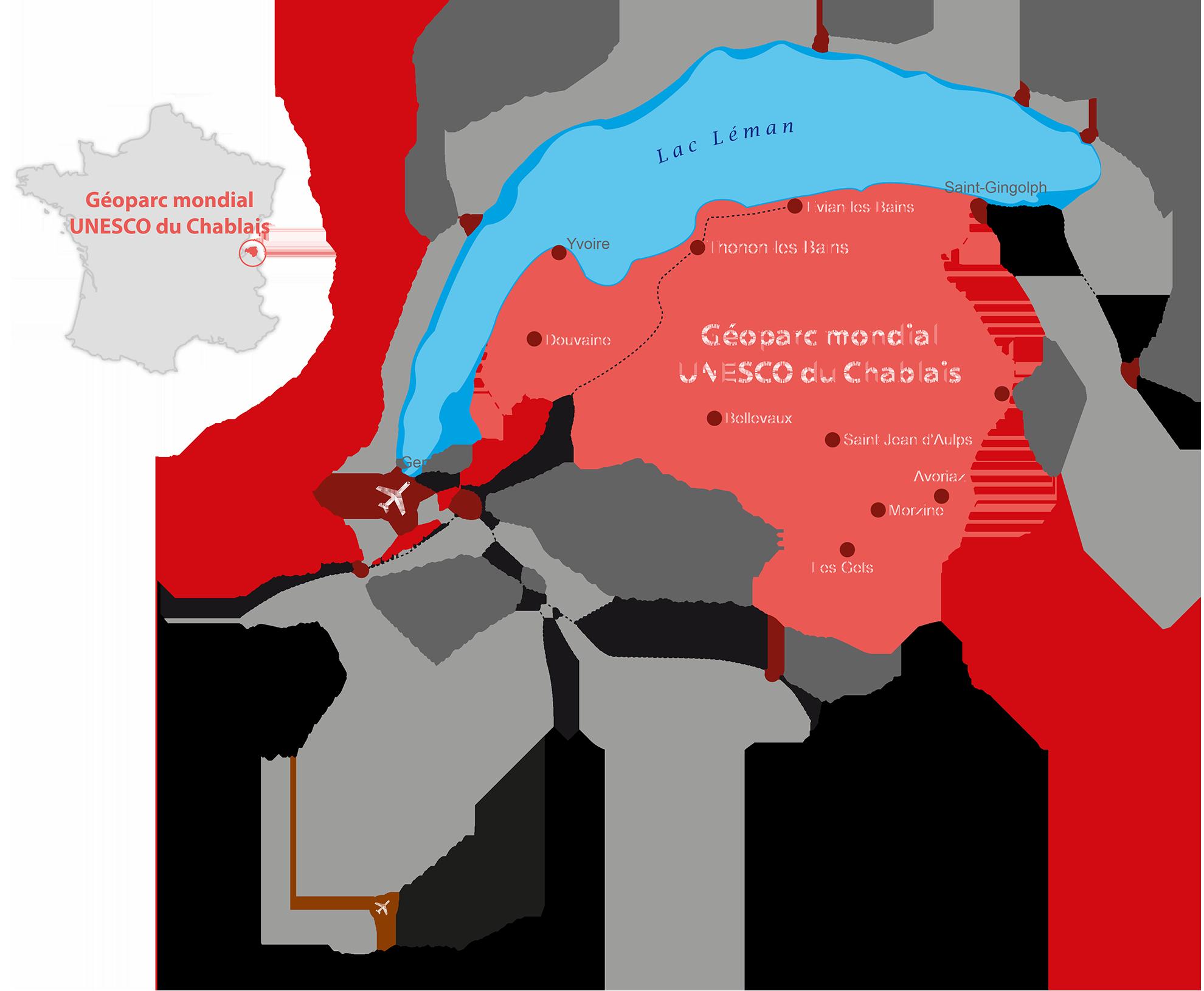 Carte de situation du géoparc du Chablais