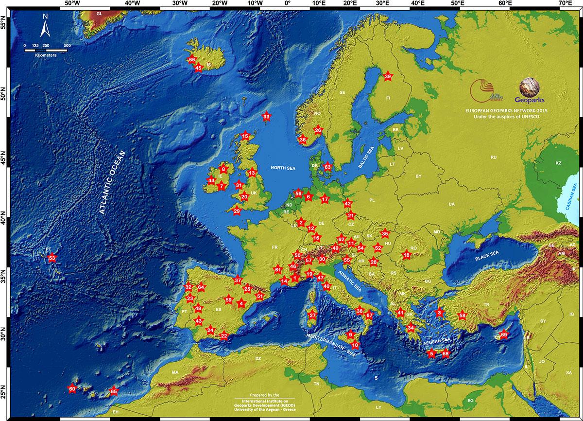 carte géoparcs européen