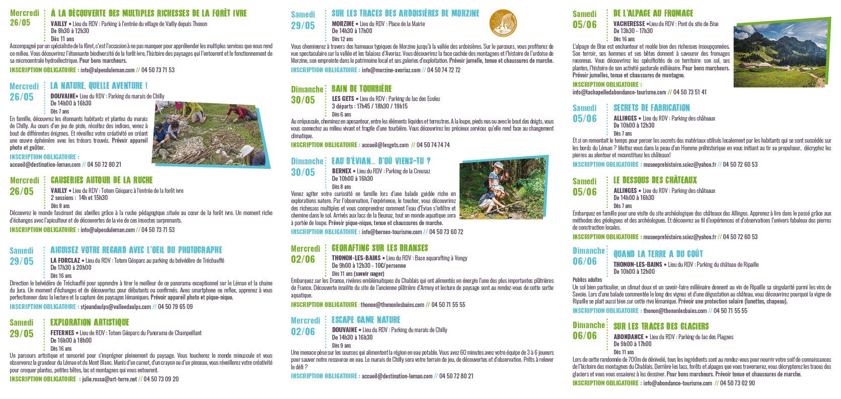 programme semaine géoparc chablais 2021 sorties natures